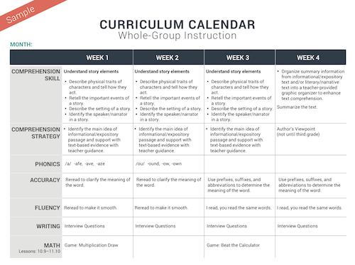 Planning For Instructioncurriculum Calendar Thedailycafe